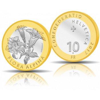 Enzian - Flora Alpina, 10 Franken Münze 2017, Polierte Platte, Schweiz