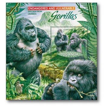 Gorillas - Briefmarkenblock postfrisch, Uganda
