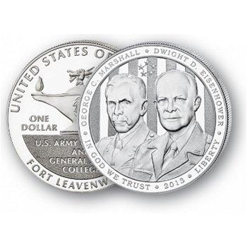 Marshall/Eisenhower - Silberdollar 2013, 1 Dollar Silbermünze, USA