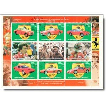 100. Geburtstag von Enzo Ferrari - Briefmarken-Kleinbogen gestempelt, Katalog-Nr. 1977-1985, Guinea