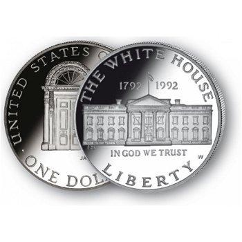 200 Jahre Weißes Haus - Silberdollar 1992, 1 Dollar Silbermünze, USA