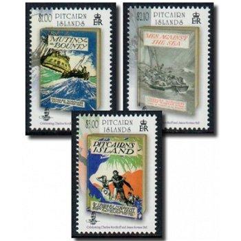 Charles Nordhoff & James Normann Hall, 3 Briefmarken postfrisch, Pitcairn