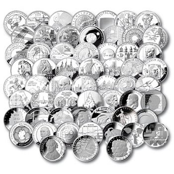 Komplette Sammlung aller deutschen 10 Euro Münzen, Stempelglanz