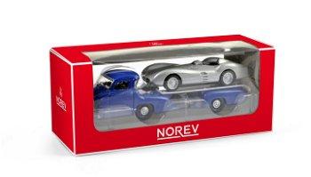 Modellauto:Mercedes-Benz Renntransportermit Mercedes W196 Silberpfeil(Norev, ca. 1:64)