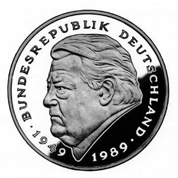 2 DM coin & quot; Franz Josef Strauss - 40 Years of the Federal Republic & quot ;, Mintmark D