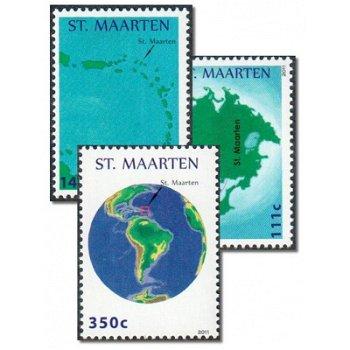 Landkarten von Sint Maarten - 3 Briefmarken postfrisch, Sint Maarten